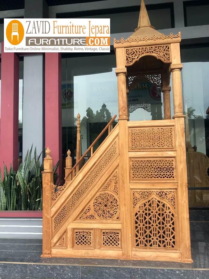 real-pict-mimbar Mimbar Masjid Kayu Jati Mewah Ukiran Relief Terbaru Kualitas Terbaik