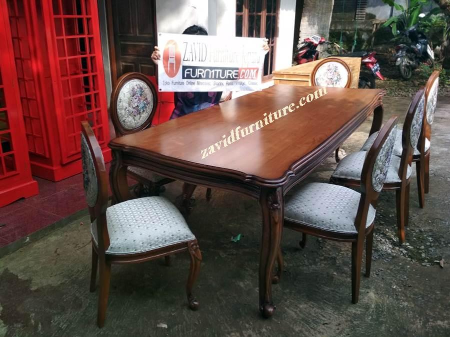 set-kursi-meja-makan-mewah-minimalis-klasik Jual Set Kursi Meja Makan Bogor Klasik Kayu Jati Terbaru