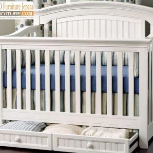 Tempat Tidur Bayi Madura Sorong Warna Putih Duco