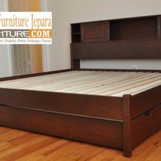 Jual Tempat Tidur Laci Demak Kayu Jati Model 3 Laci