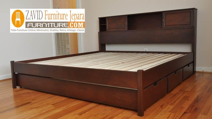 tempat-tidur-laci-3-laci-coklat Jual Tempat Tidur Laci Demak Kayu Jati Model 3 Laci
