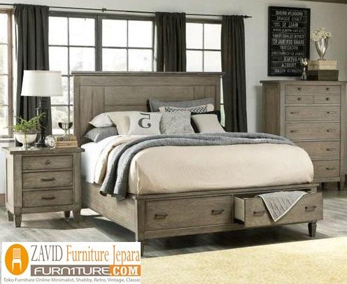 tempat-tidur-laci-klasik. Tempat Tidur Laci Malang Klasik Warna Krem Model Baru