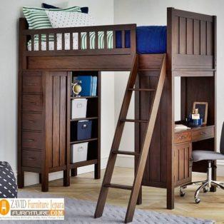 Tempat Tidur Tingkat Denpasar Kayu Jati Dan Meja Belajar
