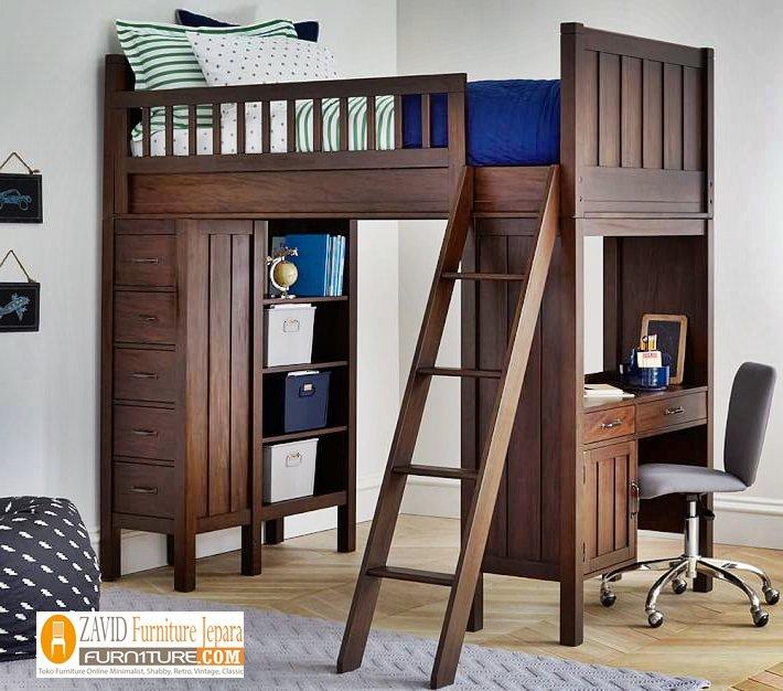 Set-Tempat-tidur-tingkat-dan-meja-belajar Tempat Tidur Tingkat Denpasar Kayu Jati Dan Meja Belajar