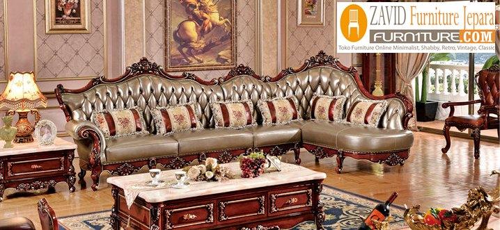 kursi tamu mewah sudut ukiran - Kursi Sofa Kulit Asli Mewah Klasik Terbaru