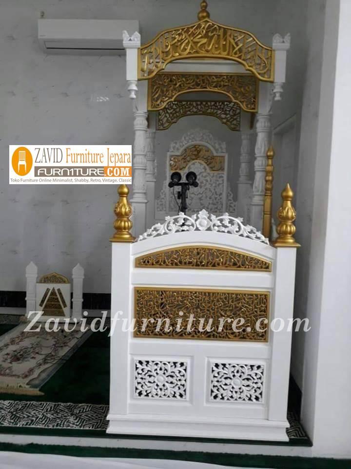 mimbar-masjid- Jual Mimbar Masjid Tangerang Kayu Jati Ukiran Arab