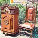 Jual Mimbar Masjid Denpasar Minimalis Kayu Jati Ukiran