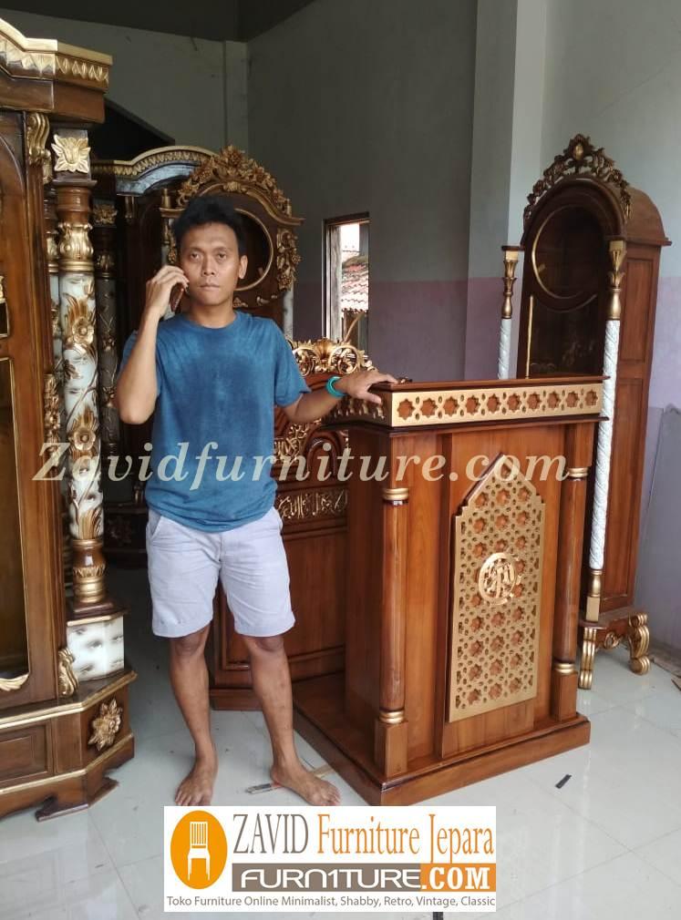 mimbar-masjid-real-pict-3 Jual Mimbar Masjid Kota Bekasi Kayu Jati Minimalis Terbaru