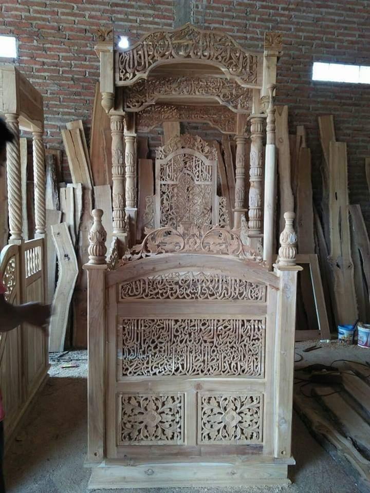mimbar-masjid. Jual Mimbar Masjid Tangerang Kayu Jati Ukiran Arab