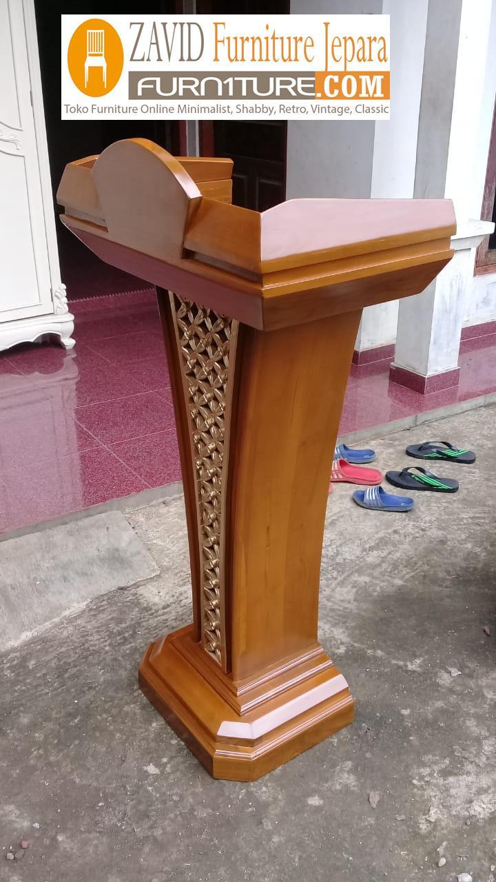 mimbar-podium-banten-2 Jual Mimbar Podium Banten Minimalis Jati Motif Ukir Kawung