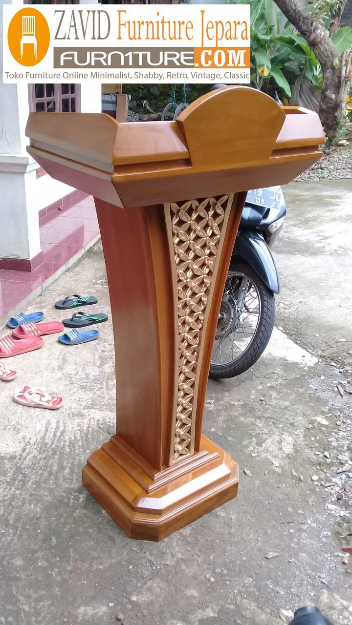 mimbar-podium-banten Jual Mimbar Podium Banten Minimalis Jati Motif Ukir Kawung