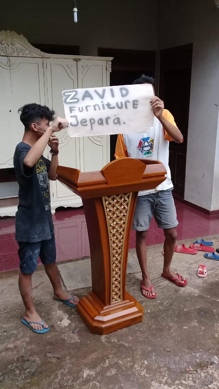 mimbar-podium Jual Mimbar Podium Banten Minimalis Jati Motif Ukir Kawung