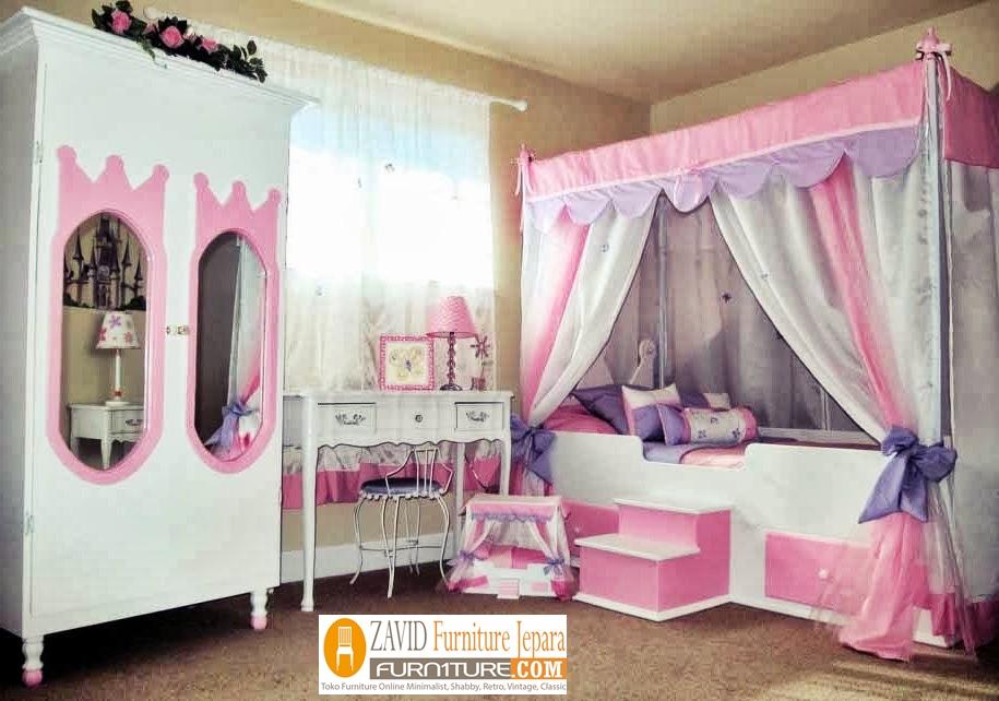 tempat-tidur-anak-perempuan-dengan-lemari-cermin Tempat Tidur Anak Model Kanopi Dengan Lemari Cermin