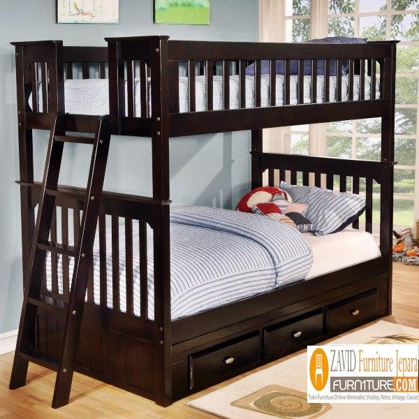 tempat-tidur-anak-tingkat-minimalis-laci Jual Tempat Tidur Anak Bekasi Model Tingkat Laci Minimalis
