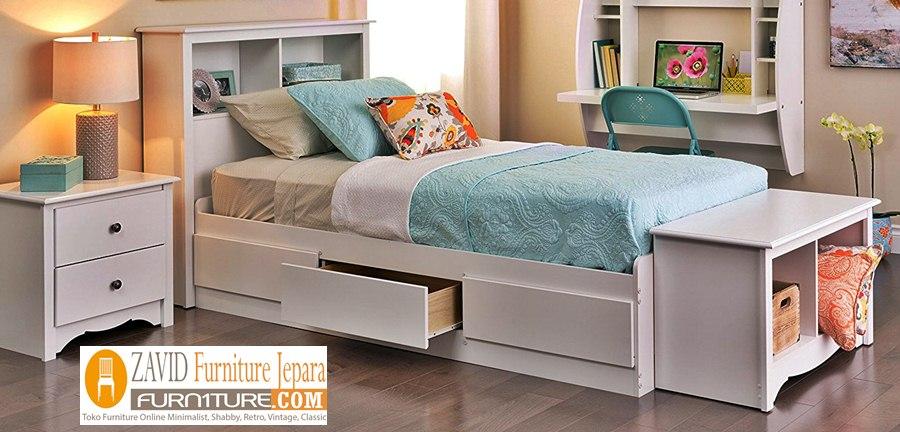 tempat-tidur-laci-putih Jual Tempat Tidur Laci Bekasi Putih Duco Modern