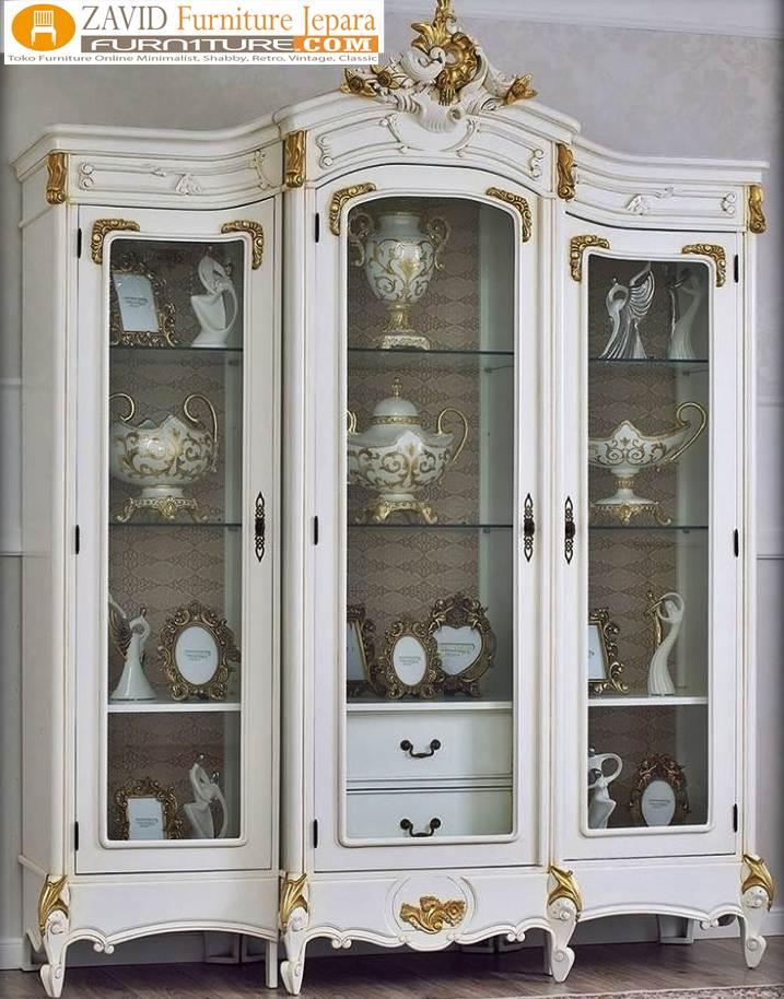 lemari-hias-kaca-klasik-putih-duco Jual Lemari Hias Kaca Demak Mewah Klasik Putih Duco