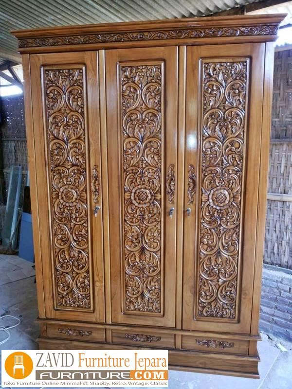 lemari-pakaian-3-pintu-ukir-1 Jual Lemari Pakaian Cirebon Kayu Jati 3 Pintu Ukiran Bunga