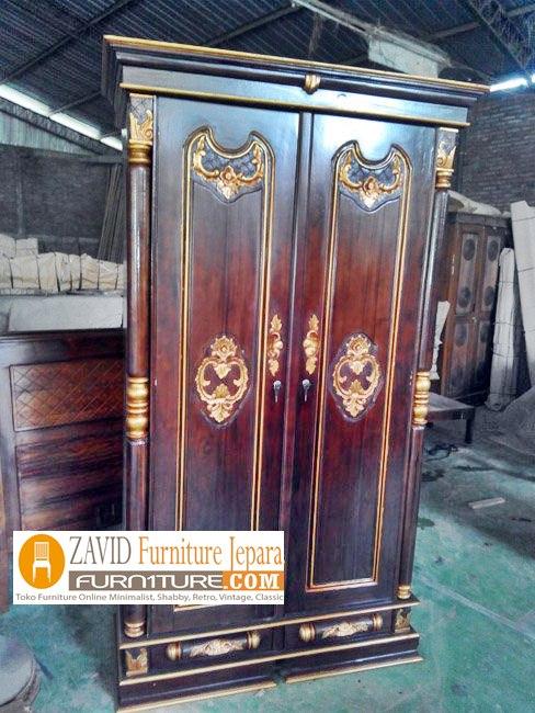 lemari pakaian kayu jati 2 pintu - Jual Lemari Pakaian Banten Kayu Jati 2 Pintu Ukiran Minimalis