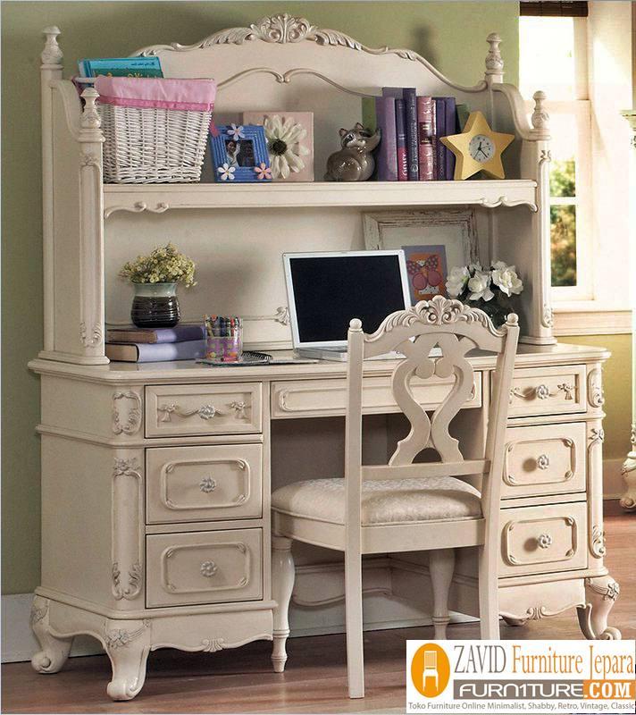 meja belajar putih duco - Meja Belajar Cirebon Putih Duco Modern