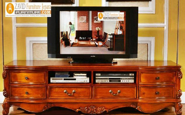 meja-tv-kayu-jati-minimalis Jual Meja Tv Cirebon 6 Laci Ukiran Kayu Jati  Modern