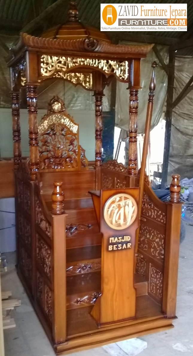 mimbar-masjid-real-pict-2 Jual Mimbar Masjid Cirebon Model Kubah Ukiran Terbaru