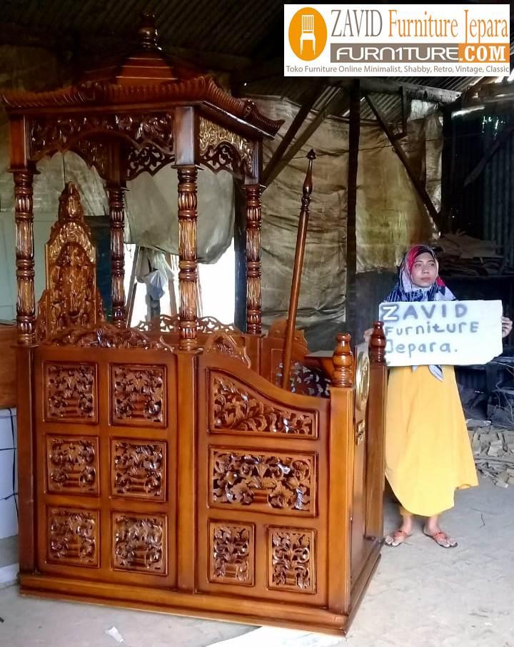 mimbar-masjid-real-pict-3 Jual Mimbar Masjid Cirebon Model Kubah Ukiran Terbaru