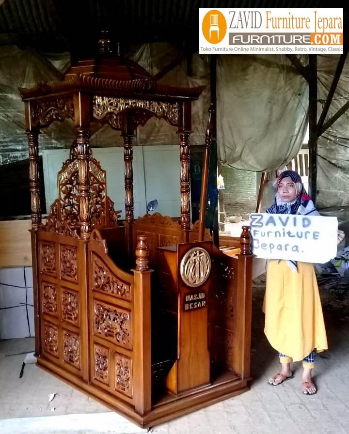mimbar-masjid-real-pict Jual Mimbar Masjid Cirebon Model Kubah Ukiran Terbaru