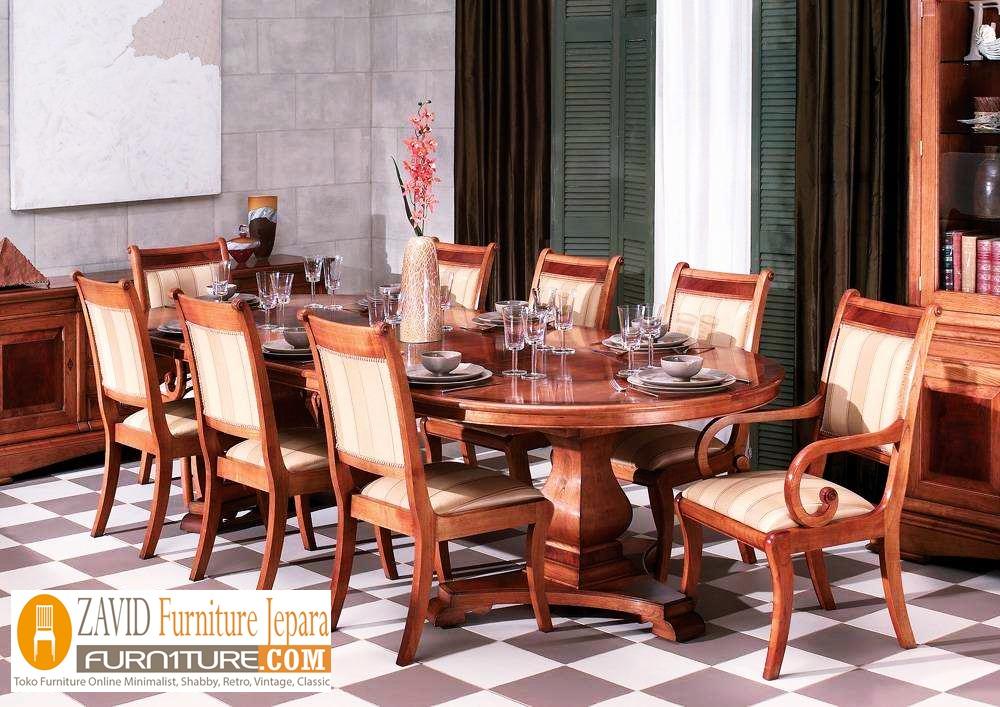 set-meja-makan-jati-mewah Jual Set Meja Makan Mewah Magelang Kayu Jati Bentuk Oval