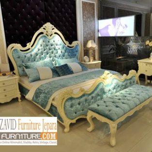 Jual Tempat Tidur Mewah Tangerang Modern Putih Duco Ukiran