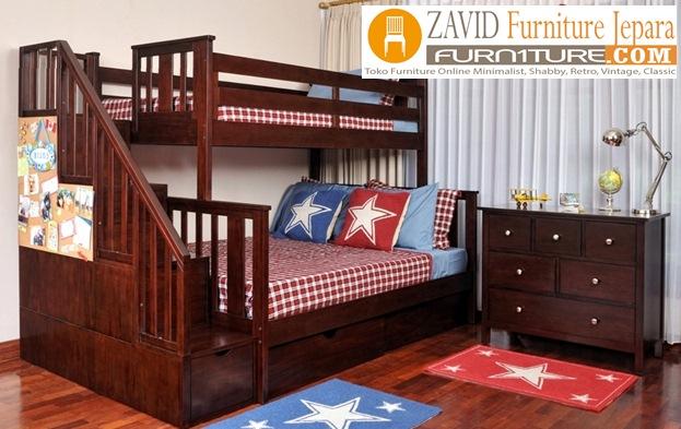tempat tidur tingkat kayu jati - Jual Tempat Tidur Anak Tingkat Cirebon Laci Tangga Kayu Jati