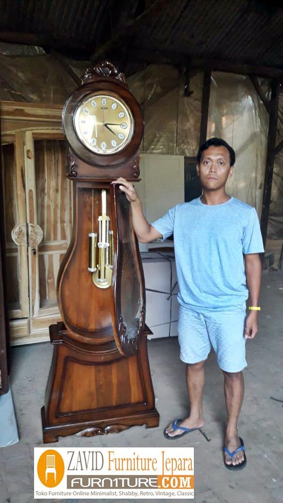 lemari-jam-hias-kayu-jati Lemari Jam Hias Cirebon Model Bandul Kayu Jati Terbaru