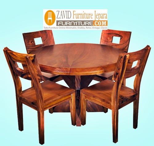 meja-kursi-makan-kayu-trembesi Set Meja Kursi Makan Palembang Kayu Trembesi Minimalis Terbaru