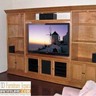 Meja Rak Tv Kediri Jati Minimalis Mewah Ukir Terbaru