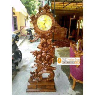 Lemari Jam Hias Palembang Model Bunga Mawar Kayu Jati Ukiran Mewah