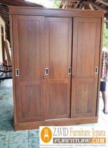 Lemari Pakaian Padang Kayu Jati 3 Pintu Sliding Minimalis