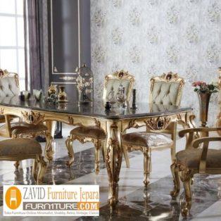 Jual Set Meja Kursi Makan Mewah Palembang  6 Kursi Gold Victorian