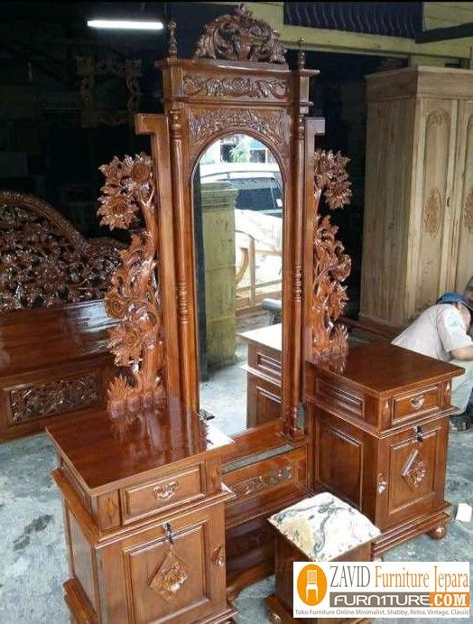 meja-rias-jati-ukiran Meja Rias Mewah Kediri Ukiran Anggur Kayu Jati