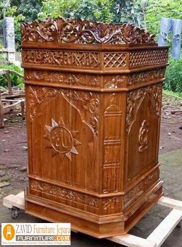 mimbar-masjid-sederhana Mimbar Masjid Kediri Model Podium Ukiran jati