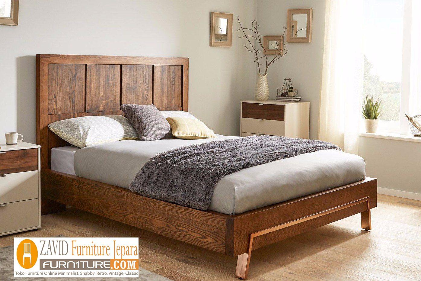 tempat tidur kayu jati minimalis - Tempat Tidur Cirebon Minimalis Kayu Jati Modern