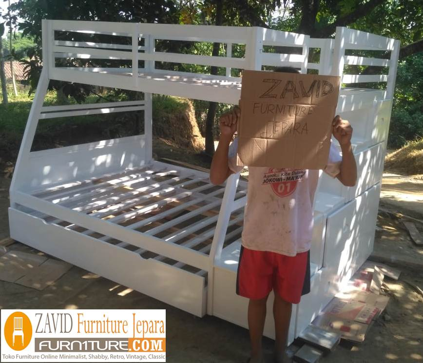 tempat-tidur-tingkat-putih-duco Tempat Tidur Tingkat Anak Malang Warna Putih Duco Minimalis