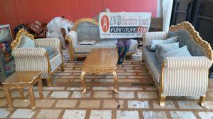 Kursi Tamu Palembang Kayu Jati Mewah Ukiran Warna Emas Klasik Gold