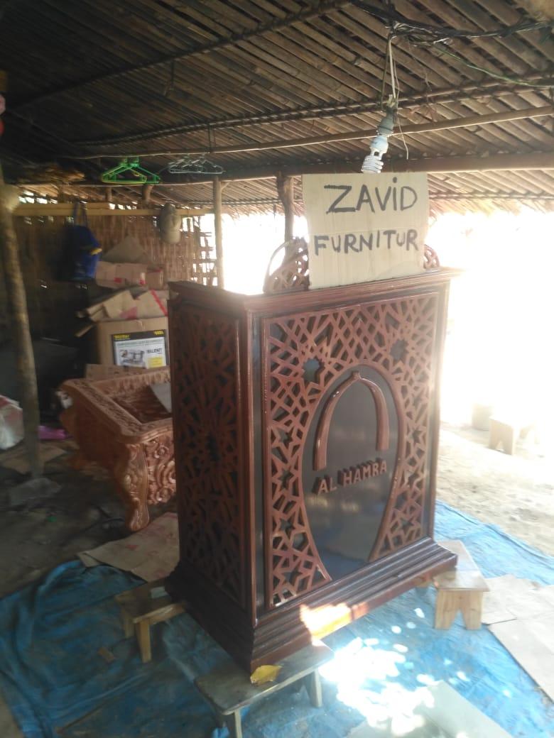 "jual-mimbar-masjid-kayu-jati Mimbar Masjid '' Al Hamra "" Kayu Jati Ukiran Minimalis"