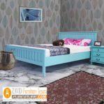 Tempat Tidur Anak Minimalis Warna Tosca Kayu Mahoni Model Terbaru