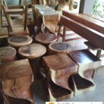 Kursi Stool Cafe Madiun Kayu Trembesi Modern Unik