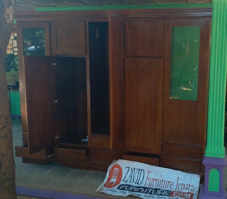 lemari-pakaian-jati-5-pintu Lemari Pakaian Madiun Kayu Jati 5 Pintu Modern