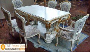 Meja Makan Mewah Kediri Ukiran Putih Duco Modern