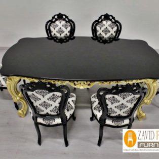 Meja Makan Probolinggo Mewah klasik Warna Hitam Putih