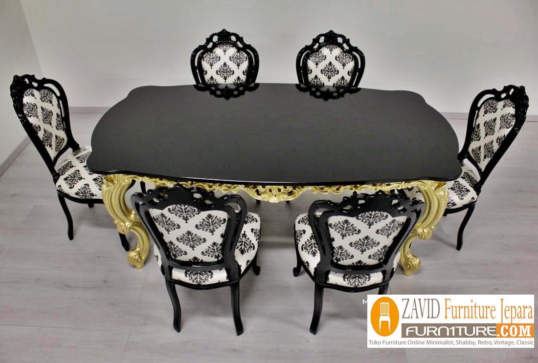 meja-makan-mewah-klasik Meja Makan Probolinggo Mewah klasik Warna Hitam Putih