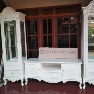 Meja Rak Tv Bandung Putih Duco Modern Ukiran Minimalis