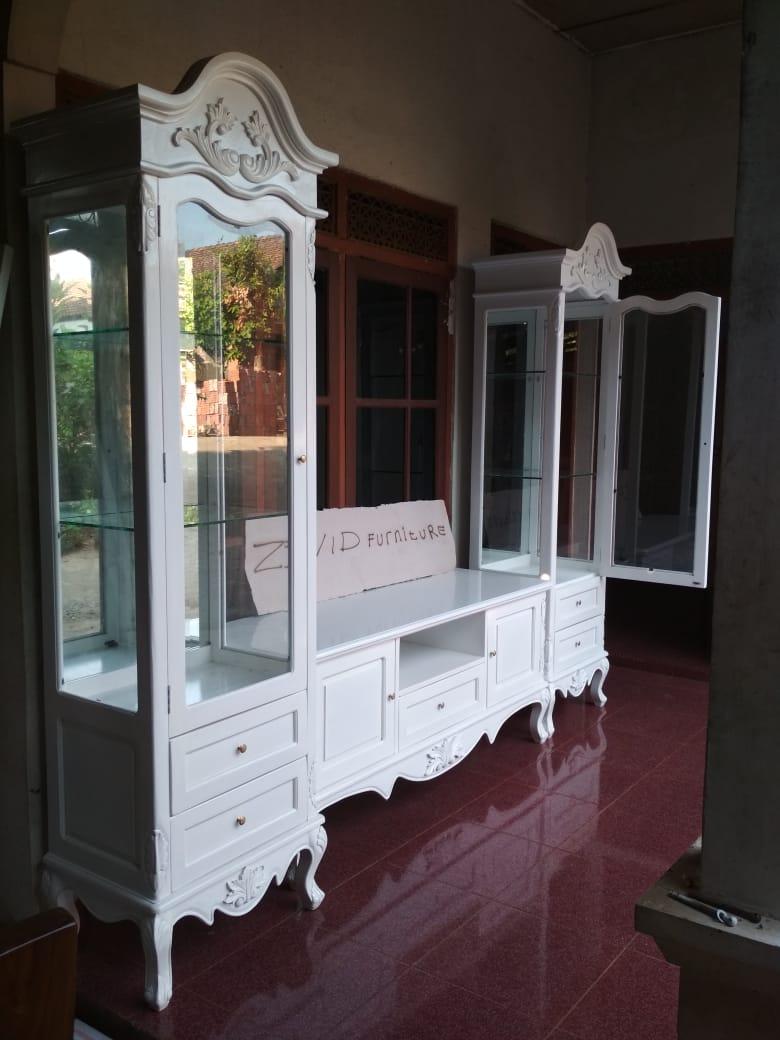 meja rak tv putih duco baru - Meja Rak Tv Bandung Putih Duco Modern Ukiran Minimalis